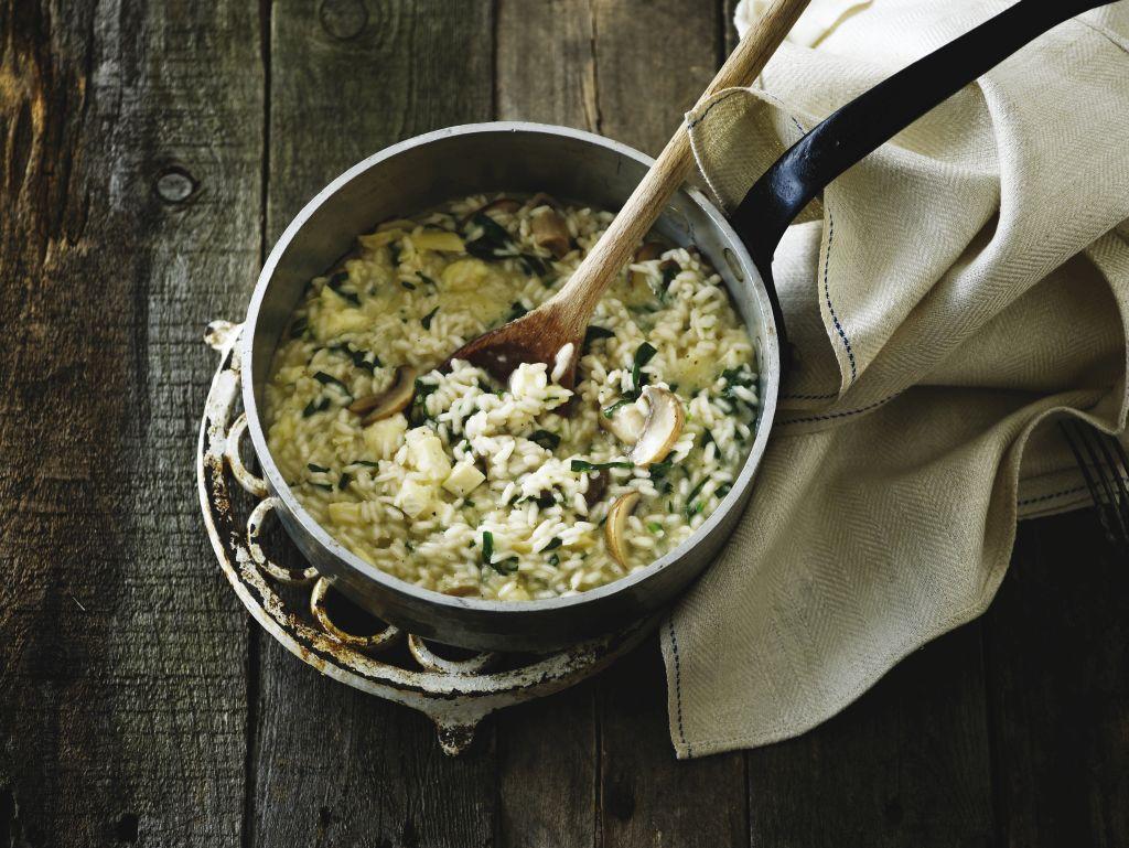 Gombás rizottó spenóttal és brie sajttal